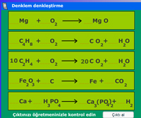 Etkileşimli Kimyasal Denklem Denkleştirme