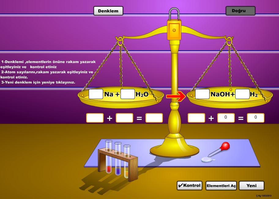 Kimyasal denklemlerin ve atom sayılarının eşitlenmesi