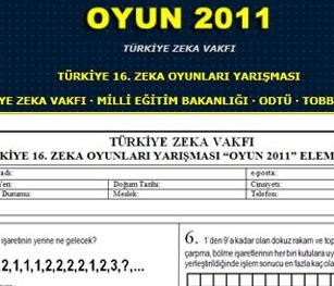 Türkiye 16. Zeka Oyunları Yarışması ( Son katılım 12.11.2011)
