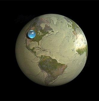 Dünyadaki tüm su küre haline getirilirse....