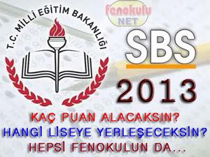 8 Haziran 2013 de yap�lan SBS den ka� puan alacaks�n?  Hangi Liseye yerle�ebilirsin?