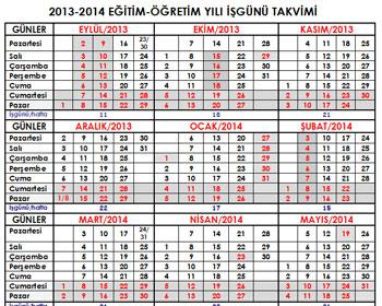 2013-2014 Eğitim Öğretim Dönemi Çalışma Takvimi