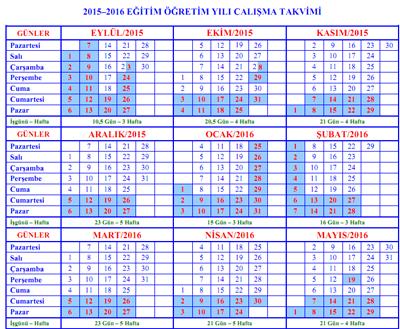 2015-2016 Eğitim Öğretim Yılı Çalışma Takvimi