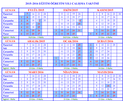 2015-2016 E�itim ��retim Y�l� �al��ma Takvimi