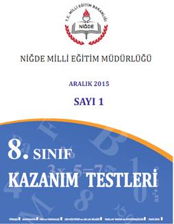 Niğde MEM den 8. Sınıf Kazanım Testleri Sayı 1 , 2 ve Sayı 3