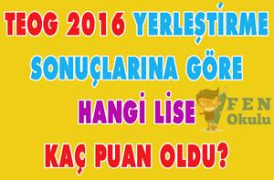 15 Ağustos 2016 Liselere Yerleştirme Sonuçlarına Göre Türkiyedeki Tüm Liselerin Taban Puanları