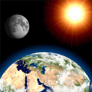 Güneş, Dünya ve Ay